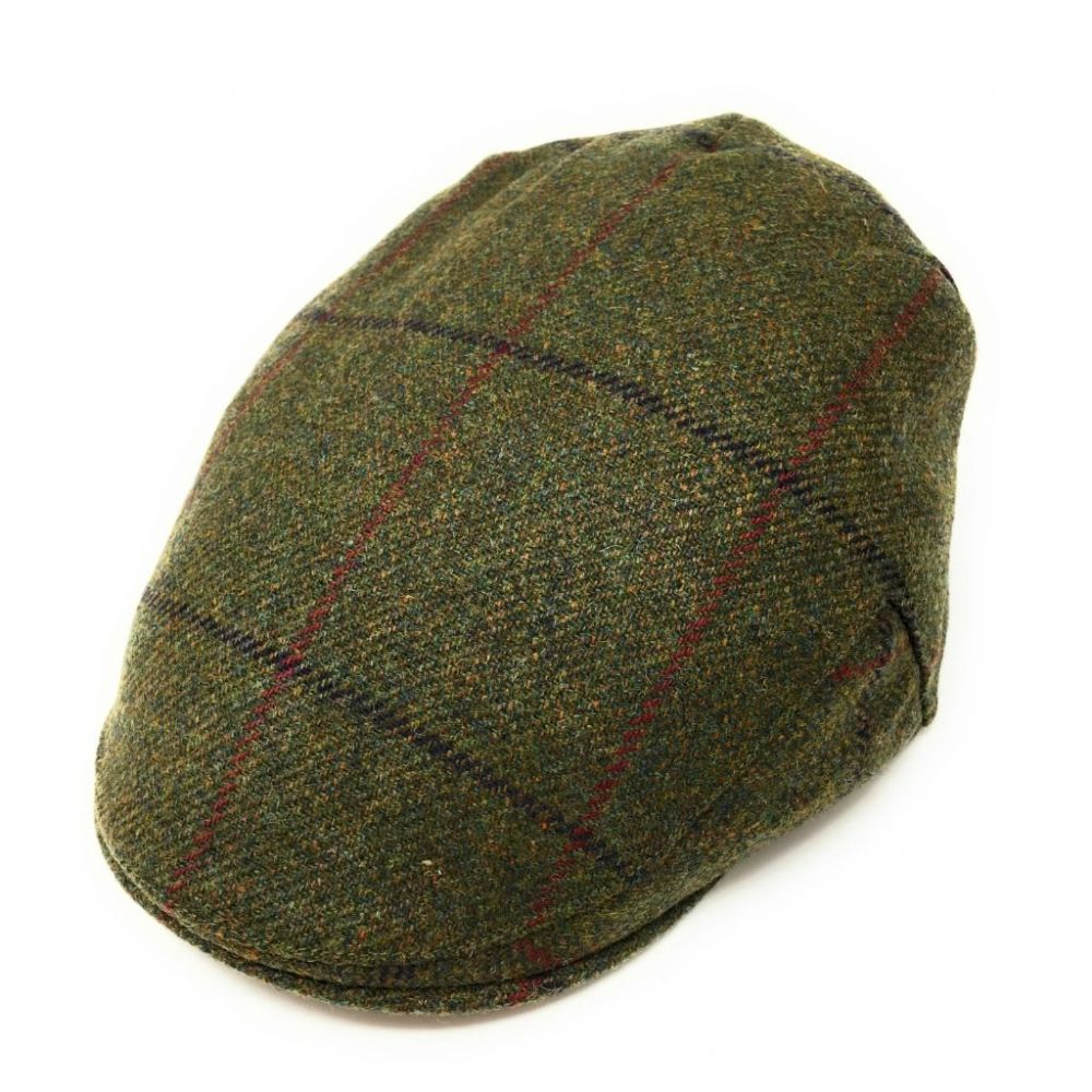 Christys Tweed Flat Cap - Balmoral - Green with Burgundy & Indigo Check - Small 55cm. Reduced
